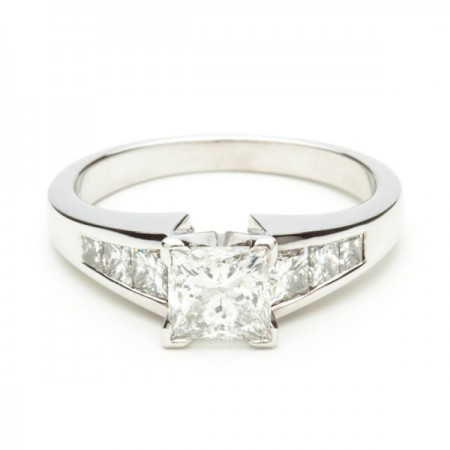 Princess With Channel Set Accents Ring